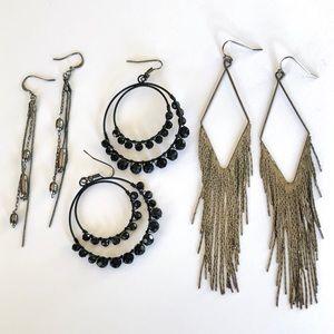 THREE Pairs of Earrings - Black and Gunmetal